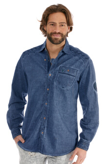 Kr ger dirndl trachten jeanshemd denimblau bestellen - Jeanshemd damen lang ...