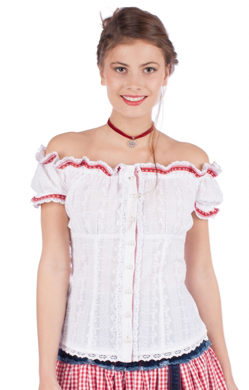 kr ger dirndl trachtenbluse weiss rot bestellen. Black Bedroom Furniture Sets. Home Design Ideas