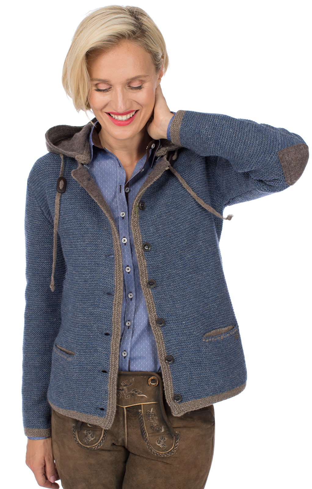 Trachtenstrickjacke HALLSTADT Hoodie jeansblau braun von Spieth Wensky