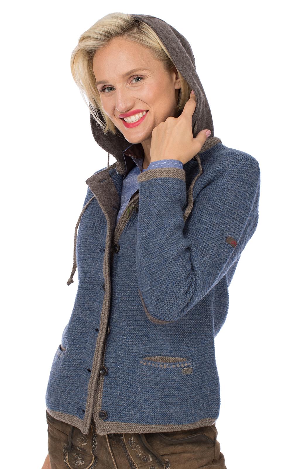 weitere Bilder von Trachtenstrickjacke HALLSTADT Hoodie jeansblau braun